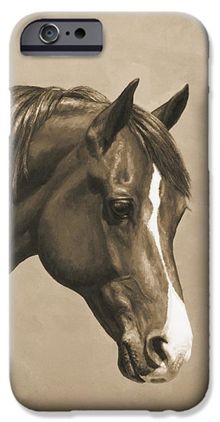 Horse Artist iPhone Cases - Morgan Horse Painting in Sepia iPhone Case by Crista Forest