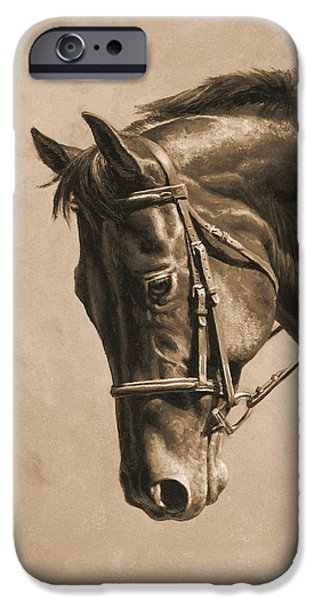 Chestnut Horse iPhone Cases - Horse Painting - Focus In Sepia iPhone Case by Crista Forest