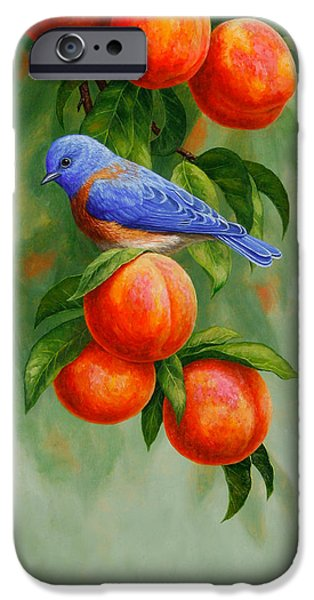 Fruit Tree iPhone Cases - Bluebird and Peaches Greeting Card 2 iPhone Case by Crista Forest