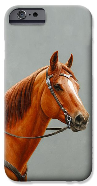 Chestnut Horse iPhone Cases - Chestnut Dun Horse Painting iPhone Case by Crista Forest