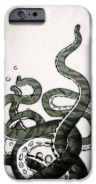 Animal Drawings iPhone Cases - Octopus Tentacles iPhone Case by Nicklas Gustafsson
