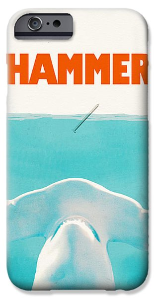 Shark Drawings iPhone Cases - Hammer iPhone Case by Eric Fan