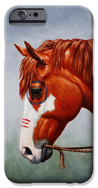 Wild Horse iPhone Cases - Native American War Horse iPhone Case by Crista Forest
