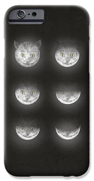 Cat Drawings iPhone Cases - Waning Cheshire iPhone Case by Eric Fan