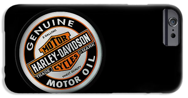Harley Davidson Photographs iPhone Cases - Harley-Davidson Motor Oil Phone Case iPhone Case by Mark Rogan