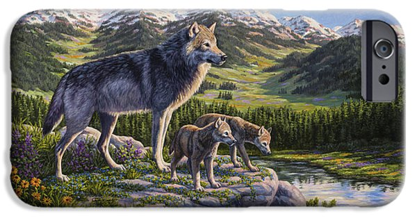 Pup iPhone Cases - Wolf Painting - Passing It On iPhone Case by Crista Forest