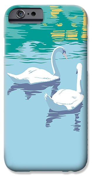 Garden Scene Paintings iPhone Cases - Swans On The Lake And Reflections Absract - Square Format iPhone Case by Walt Curlee
