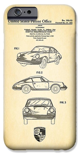 Blueprint iPhone Cases - Porsche 911 Patent iPhone Case by Mark Rogan