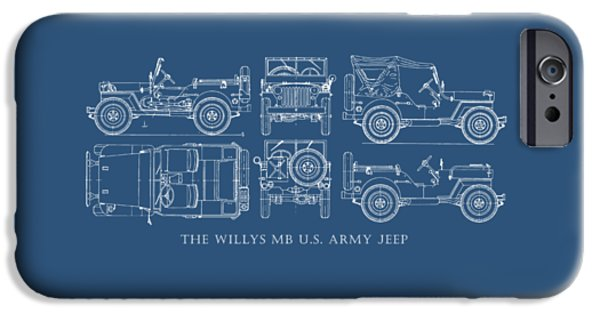 Blueprint iPhone Cases - The Willys Jeep iPhone Case by Mark Rogan