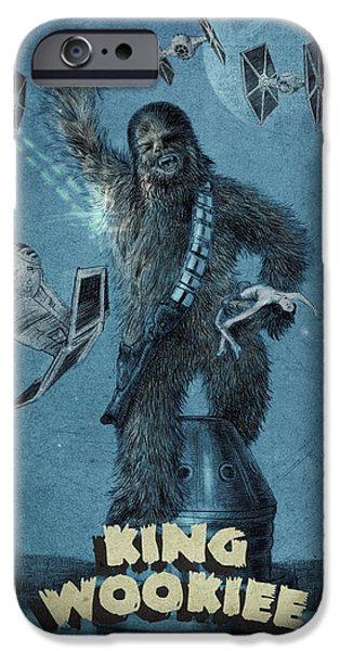 Science Fiction Drawings iPhone Cases - King Wookiee iPhone Case by Eric Fan