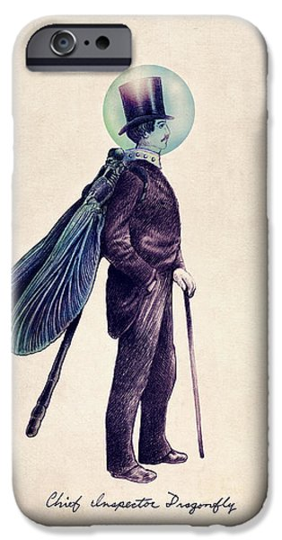 Victorian Drawings iPhone Cases - Inspector Dragonfly iPhone Case by Eric Fan