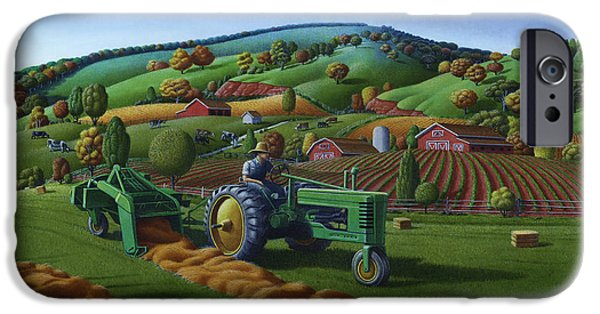 Hayfield iPhone Cases - Baling Hay Field - John Deere Tractor - Farm Country Landscape Square Format iPhone Case by Walt Curlee