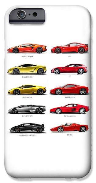 Ferrari iPhone Cases - The Italian Job 2 iPhone Case by Mark Rogan