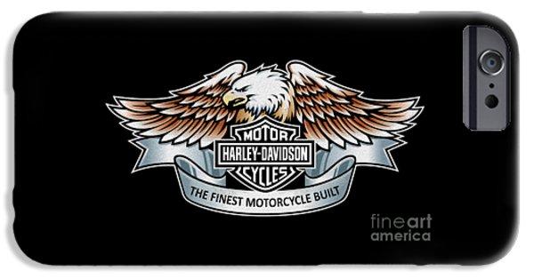 Harley Davidson Photographs iPhone Cases - Harley Davidson Eagle Phone Case iPhone Case by Mark Rogan