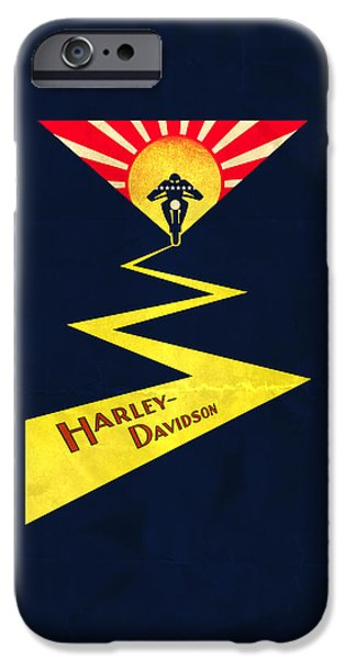 Stripes iPhone Cases - Vintage Harley-Davidson iPhone Case by Mark Rogan