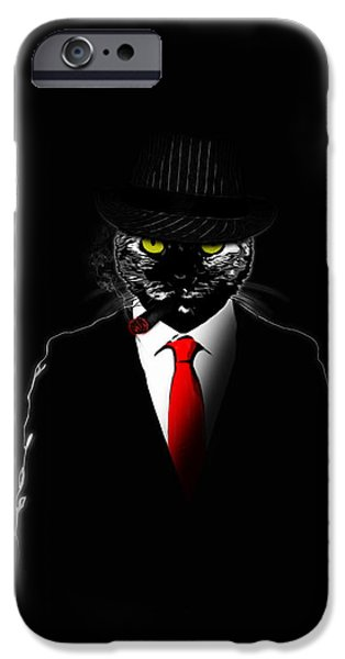 Ties iPhone Cases - Mobster Cat iPhone Case by Nicklas Gustafsson