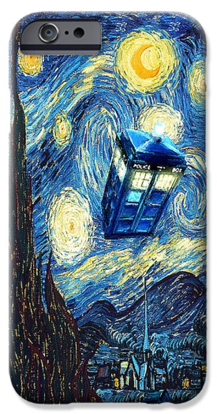 Boxes Paintings iPhone Cases - Weird Flying Phone Booth Starry the night iPhone Case by Three Second