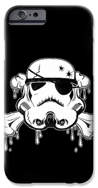 Cross Drawings iPhone Cases - Pirate Trooper iPhone Case by Nicklas Gustafsson