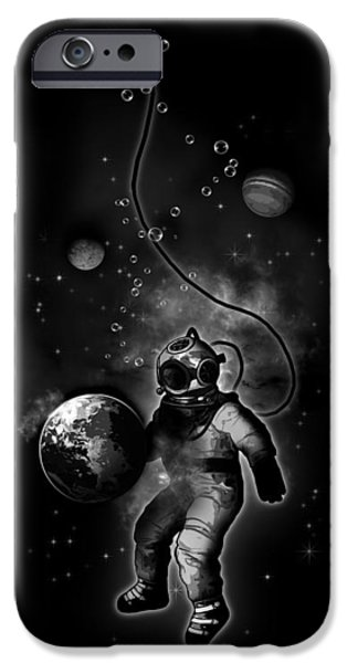 Diver iPhone Cases - Deep Sea Space Diver iPhone Case by Nicklas Gustafsson