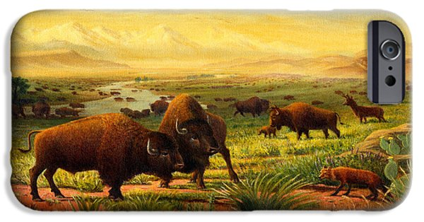 Nebraska Paintings iPhone Cases - Buffalo Fox Great Plains western Landscape oil painting - Bison - americana - historic - Walt Curlee iPhone Case by Walt Curlee