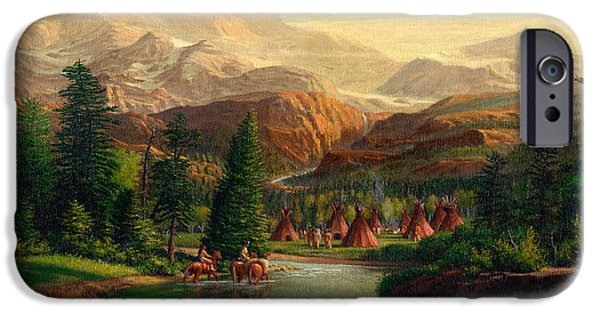 Snow-covered Landscape Paintings iPhone Cases - Indian Village Trapper western mountain landscape oil painting - Native Americans americana stream iPhone Case by Walt Curlee