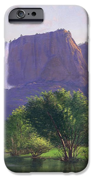 Mountains Waterfall Stream western mountain landscape oil painting iPhone Case by Walt Curlee