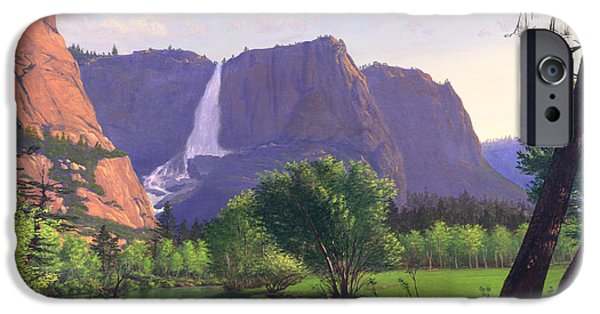 Park Scene Paintings iPhone Cases - Mountains Waterfall Stream western mountain landscape oil painting iPhone Case by Walt Curlee