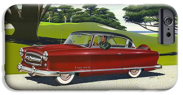 Airbrush iPhone Cases - 1953 Nash Rambler car americana rustic rural country auto antique painting red golf iPhone Case by Walt Curlee