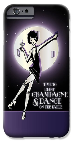 Party Invite iPhone Cases - Time to Drink Champagne and Dance on the Table 1920s Gatsby Flapper Girl  iPhone Case by Cecely Bloom