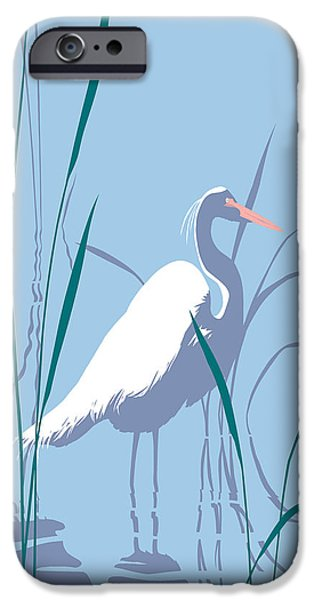 Abstract Expressionist iPhone Cases - abstract Egret graphic pop art nouveau 1980s stylized retro tropical florida bird print blue gray  iPhone Case by Walt Curlee