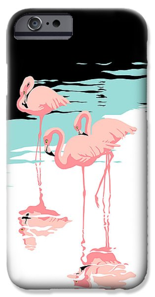 Abstract Seascape iPhone Cases - Pink Flamingos tropical 1980s abstract pop art nouveau graphic art retro stylized florida print iPhone Case by Walt Curlee