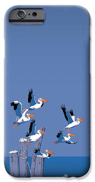Sea Birds Paintings iPhone Cases - abstract Pelicans seascape tropical pop art nouveau 1980s florida birds large retro painting  iPhone Case by Walt Curlee