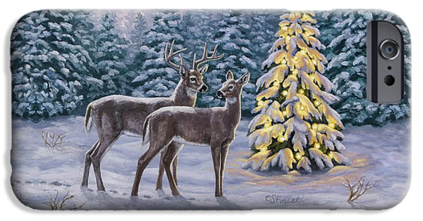 Snowy Night Paintings iPhone Cases - Whitetail Christmas iPhone Case by Crista Forest
