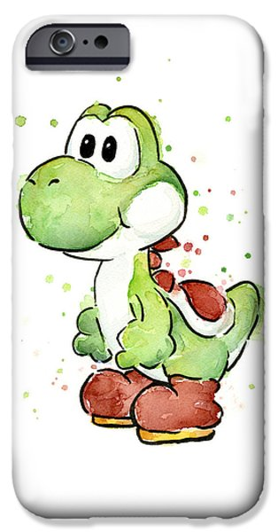 Olga Shvartsur iPhone Cases - Yoshi Watercolor iPhone Case by Olga Shvartsur
