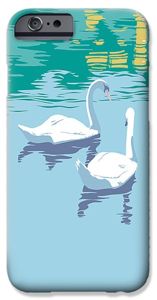 Garden Scene Paintings iPhone Cases - Abstract Swans bird lake pop art nouveau retro 80s 1980s landscape stylized large painting  iPhone Case by Walt Curlee