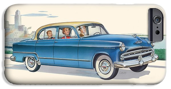 Airbrush iPhone Cases - 1953 Dodge Coronet antique car - nostagic americana - vintage tranportation iPhone Case by Walt Curlee
