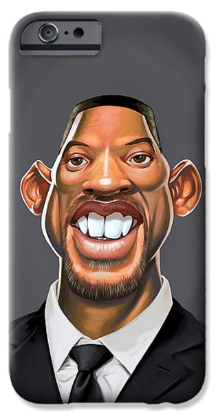 Celebrities Art Drawings iPhone Cases - Celebrity Sunday - Will Smith iPhone Case by Rob Snow