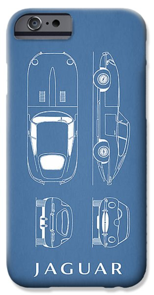 Blueprint iPhone Cases - Jaguar E Type Blueprint iPhone Case by Mark Rogan