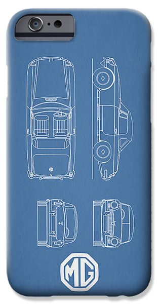 Print Photographs iPhone Cases - MGB Blueprint iPhone Case by Mark Rogan