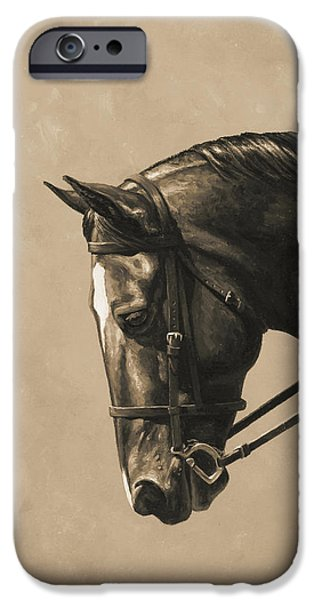 Horseback Riding iPhone Cases - Dark Dressage Horse Aged Photo FX iPhone Case by Crista Forest