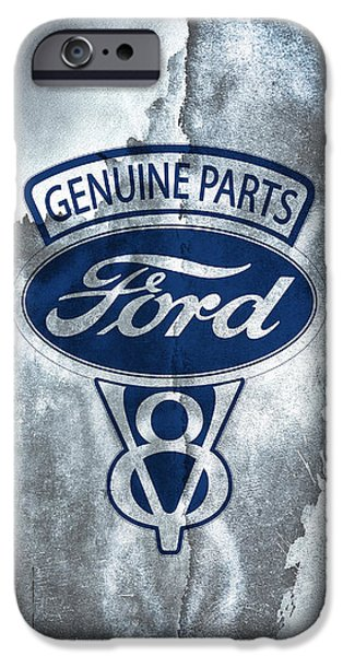 Ford V8 iPhone Cases - Vintage Ford V8  iPhone Case by Mark Rogan