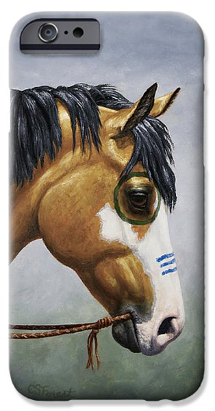 Paint Horse iPhone Cases - Buckskin Native American War Horse iPhone Case by Crista Forest