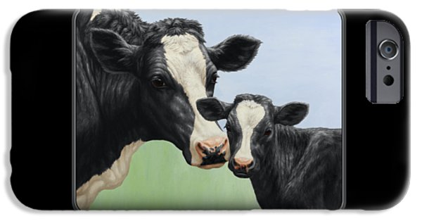 Cow iPhone Cases - Holstein Cow and Calf iPhone Case by Crista Forest
