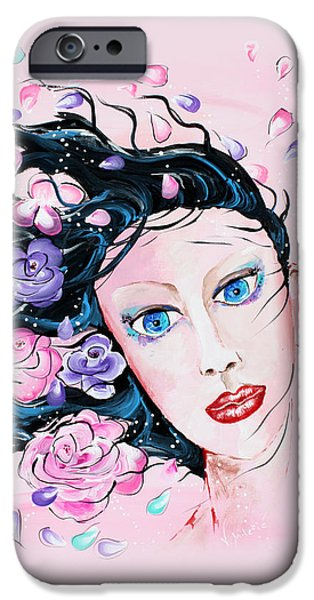 Woman iPhone Cases - Spring Breeze - Woman Flowers Art by Valentina Miletic iPhone Case by Valentina Miletic