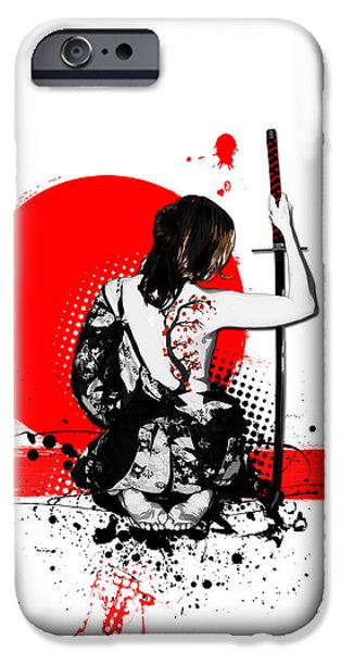 Digital Mixed Media iPhone Cases - Trash Polka - Female Samurai iPhone Case by Nicklas Gustafsson