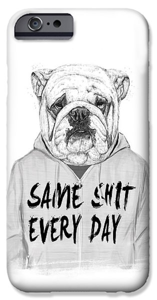 Black Dog iPhone Cases - Same shit... iPhone Case by Balazs Solti