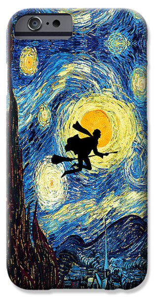 Night Angel Drawings iPhone Cases - Young wizard starry the night art painting iPhone Case by Three Second