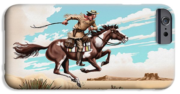 Nebraska iPhone Cases - Pony Express Rider historical americana painting desert scene iPhone Case by Walt Curlee