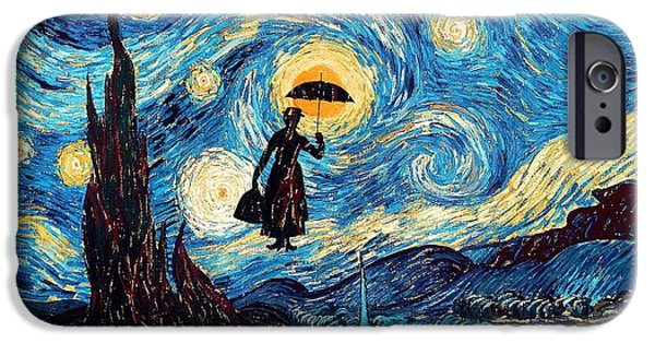Night Angel Drawings iPhone Cases - Mary Poppins Starry Night oil painting iPhone Case by three Second