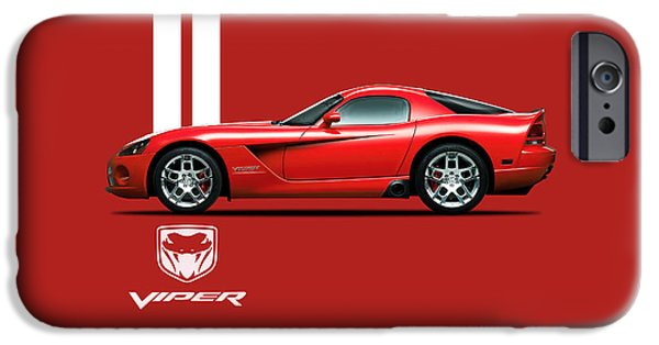 Dodge iPhone Cases - Dodge Viper Red iPhone Case by Mark Rogan